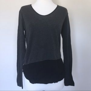 Zara W/B Collection Gray Asymmetrical Shirt
